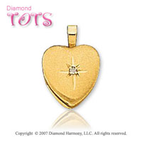 Heart Prong Diamond 14k Yellow Gold Children's Locket