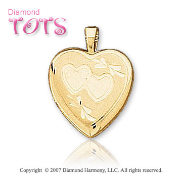 Two Hearts Carved 14k Yellow Gold Children's Locket