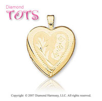 Milgrain Heart Carved 14k Yellow Gold Children's Locket