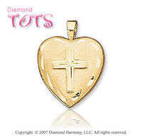 Holy Cross Carved 14k Yellow Gold Children's Locket