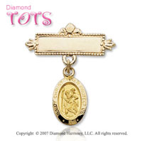 14k Yellow Gold St. Christopher 'Prote Carat Us' Christening Pin