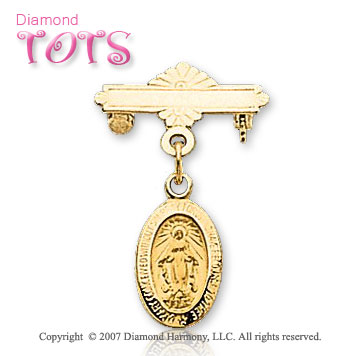 14k Yellow Gold Blessed Mother Miraculous Christening Pin