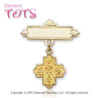 14k Yellow Gold Divine Four Way Cross Baptismal Pin