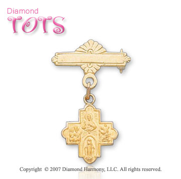 14k Yellow Gold Holy Four Way Cross Christening Pin