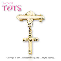 14k Yellow Gold Loving Heart Holy Cross Baptismal Pin
