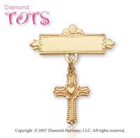 14k Yellow Gold Milgrain Heart Cross Baptismal Pin