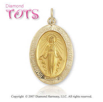14k Yellow Gold Mother Mary Miraculous Children's Medal