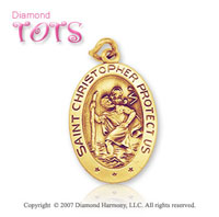 14k Yellow Gold Oval St. Christopher Children's Medal