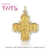 14k Yellow Gold Divine Jesus Four Way Cross Carved Medal