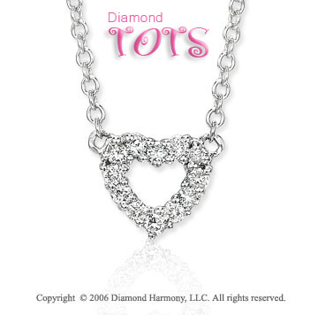 14k White Gold Heart of Diamonds Children's Necklace