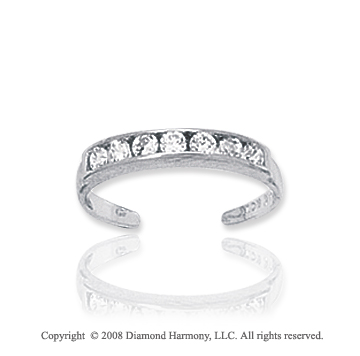 14k White Gold  CZ Simple Toe Ring