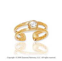 14k Yellow Gold Double Band CZ Toe Ring