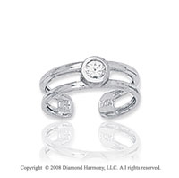 14k White Gold Double Band CZ Toe Ring