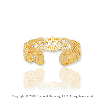 14k Yellow Gold Stylish Filigree Toe Ring