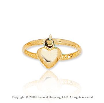 14k Yellow Gold Heart Charm Toe Ring