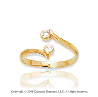 14k Yellow Gold Stylish CZ Toe Ring