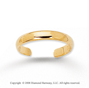 14k Yellow Gold Simple Single Band Toe Ring