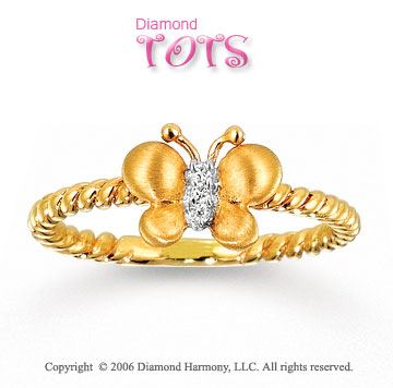 Diamond Butterfly 14k Gold Tots Ring