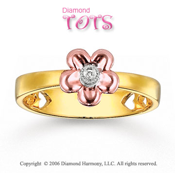 Diamond Flower 14k Two Tone Gold Tots Ring