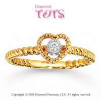 Open Heart Diamond 14k Gold Tots Ring