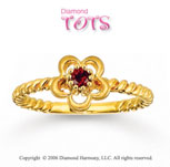 Garnet Flower 14k Gold Tots Ring